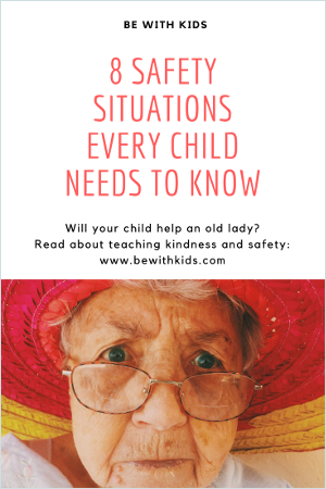 8 safety situations about help requests from strangers every child needs to know - post cover - an old lady in glasses and red hat