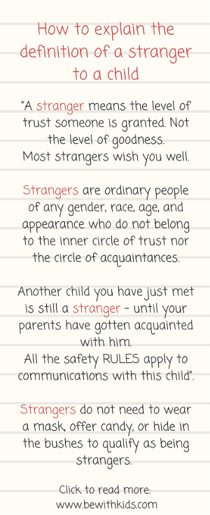 A conversation prompt on how to explain a definition of stranger to your child