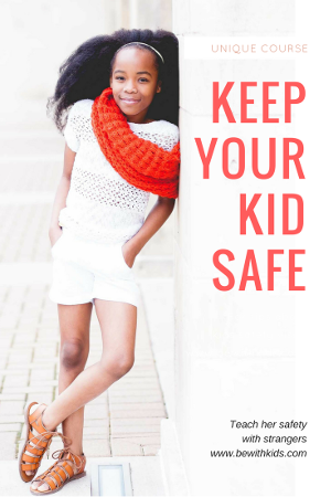 Free mini-course: Teach your child safety with strangers in a positive, hands-on way - post cover - a girl in white shorts and t-shirt and red scarf